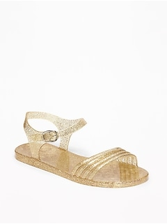 Strappy Glitter Jelly Sandals for Girls