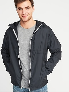Packable Water-Resistant Hooded Windbreaker for Men