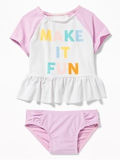 """Make It Fun"" Rashguard & Swim Bottoms Set for Toddler Girls"