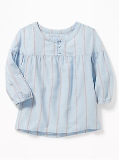 Striped 3/4-Sleeve Swing Blouse for Girls