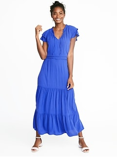 Waist-Defined Ruffle-Sleeve Crepe Maxi for Women