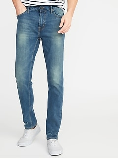 Slim Built-In Tough All-Temp Bleach-Spot Jeans for Men