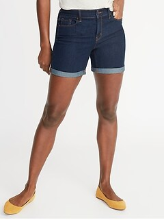 Mid-Rise Slim Denim Shorts for Women - 5-inch inseam