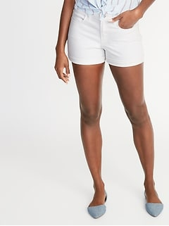 Mid-Rise White Denim Shorts for Women - 3-inch inseam