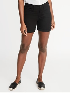 Mid-Rise Slim Black Denim Shorts for Women - 5-inch inseam