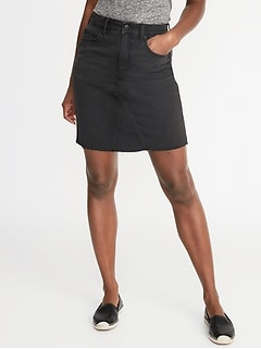 High-Rise Frayed-Hem Black Denim Skirt