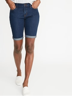 Mid-Rise Slim Denim Bermudas for Women - 9-inch inseam