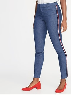 Mid-Rise Pixie Side-Stripe Ankle Pants for Women