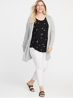 Long-Line Plus-Size Open-Front Sweater