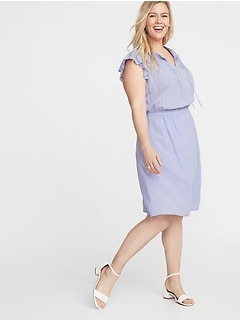 Waist-Defined Flutter-Sleeve Plus-Size Dress