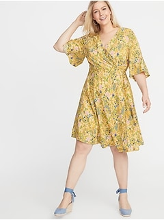 Waist-Defined Faux-Wrap Plus-Size Dress