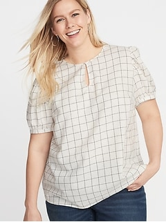 Patterned Twill Plus-Size Puff-Sleeve Blouse