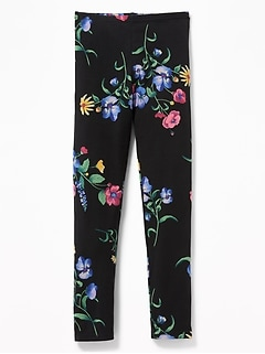 Graphic Full-Length Jersey Leggings for Girls