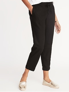 Mid-Rise Linen-Blend Straight-Leg Cropped Pants for Women