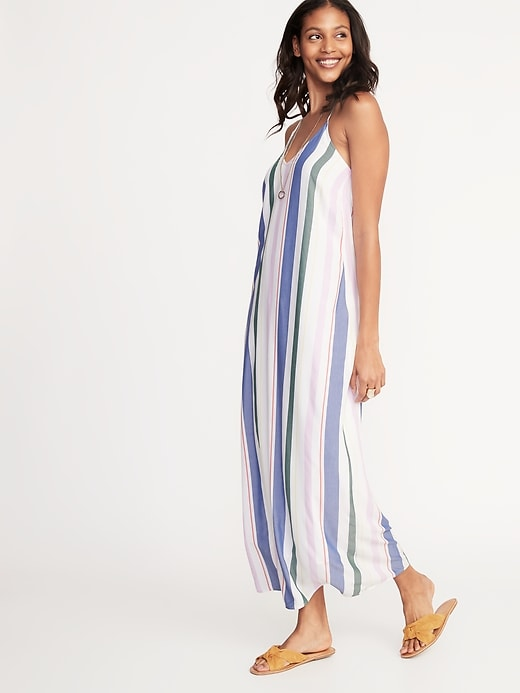 Sleeveless V Neck Multi Stripe Maxi For Women by Old Navy