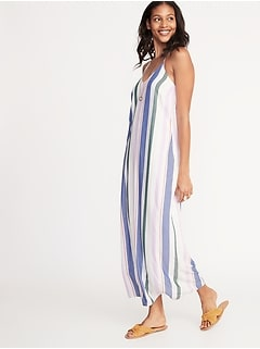Sleeveless V-Neck Multi-Stripe Maxi for Women