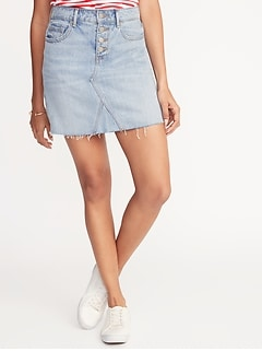 High-Rise Button-Fly Raw-Edge Denim Skirt for Women
