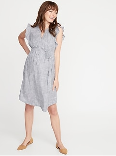 Maternity Patterned Tie-Belt Shirt Dress