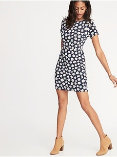 Printed Ponte-Knit Sheath Dress for Women