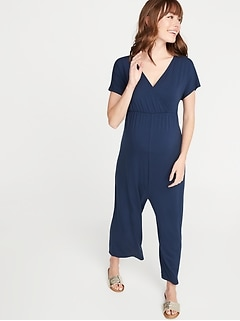 Maternity Cross-Front Jersey Jumpsuit