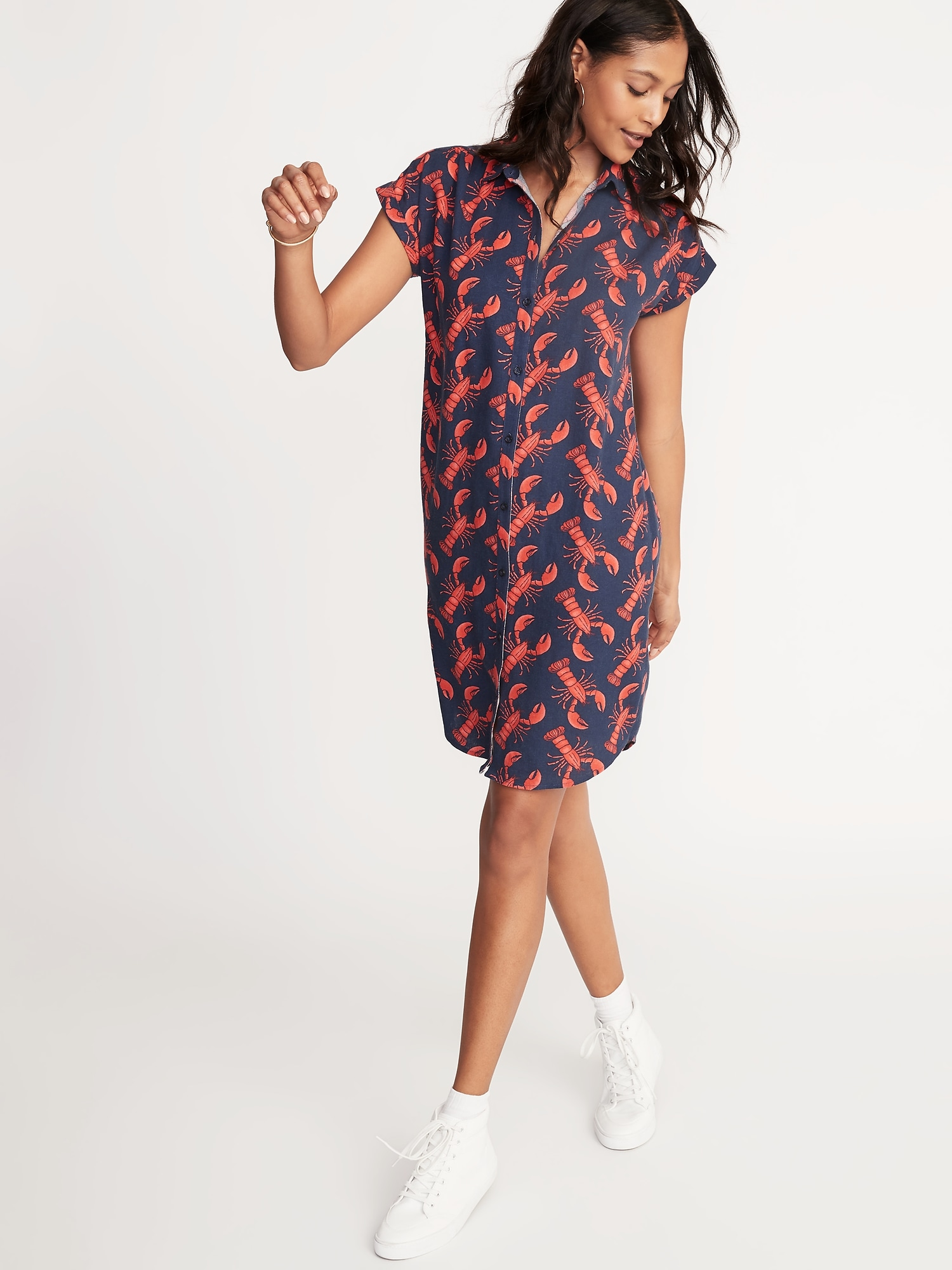 Printed Linen Blend Shirt Dress For Women Old Navy