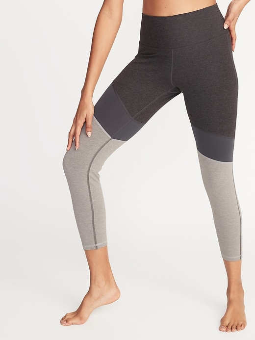 High-Rise Color-Blocked 7/8-Length Yoga Leggings for Women