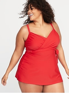 Secret-Slim Plus-Size Wrap-Front Swim Dress