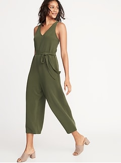Textured Ponte-Knit Tie-Belt Jumpsuit for Women