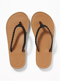 Braided Metallic Faux-Leather Flip-Flops for Girls