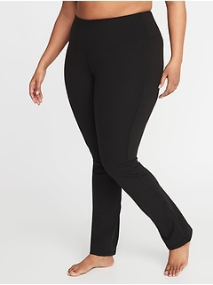High-Waisted Elevate Compression Plus-Size Straight-Leg Pants