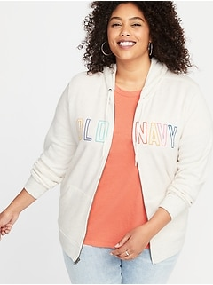 Relaxed Plus-Size Logo-Graphic Zip Hoodie