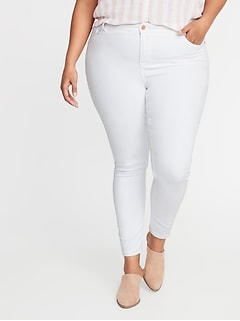 High-Rise Secret-Slim Pockets Plus-Size Rockstar Super Skinny White Jeans