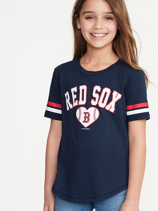 MLB&#174 Team-Graphic Sleeve-Stripe Tee for Girls