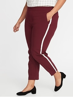 Mid-Rise Secret-Slim Pockets Plus-Size Side-Stripe Pull-On Pants