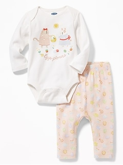 """Eggs-Plorer"" Easter Bodysuit & Pants Set for Baby"