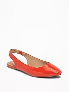 Faux-Leather Slingback Flats for Women