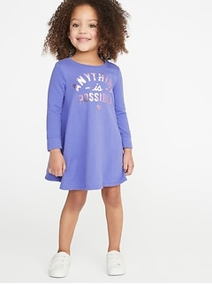 Sweatshirt Swing Dress for Toddler Girls