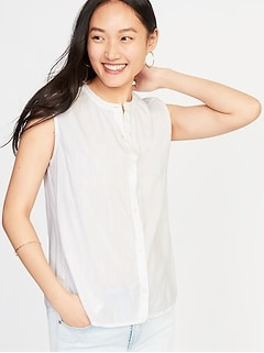 Sleeveless Button-Front Shirt for Women