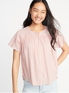 Shirred Button-Front Blouse for Women