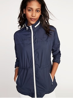 Water-Resistant Hooded Windbreaker for Women