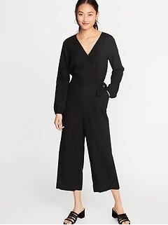 Linen-Blend Wrap-Front Jumpsuit for Women
