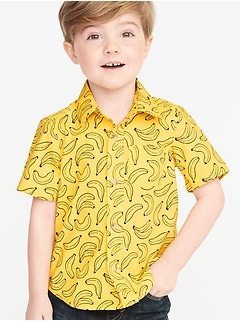 Built-In Flex Banana-Print Shirt for Toddler Boys