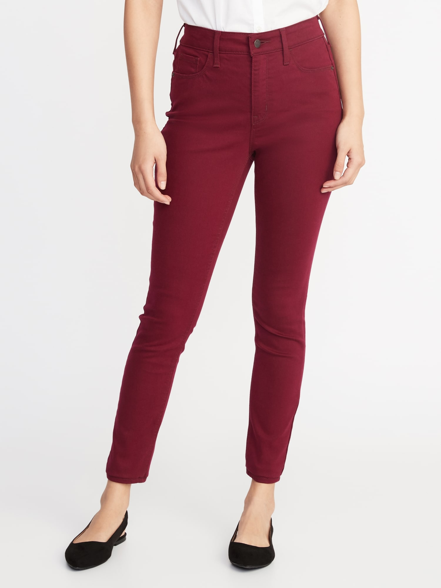 maroon color jeans