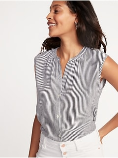 Sleeveless Button-Front Striped Shirt for Women