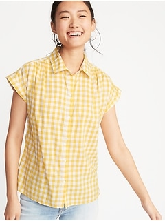 Button-Front Gingham Shirt for Women