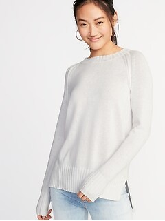 a028ac3eddd Rib-Knit Trim Crew-Neck Sweater for Women