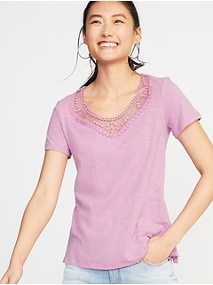 Crochet-Trim Slub-Knit Top for Women