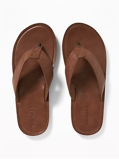 Faux-Leather Flip-Flops for Men