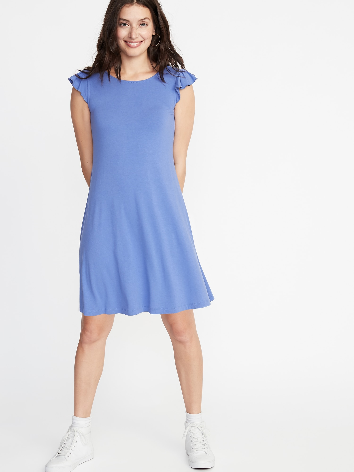 39e7c7d49932 Flutter-Sleeve Jersey Swing Dress for Women | Old Navy