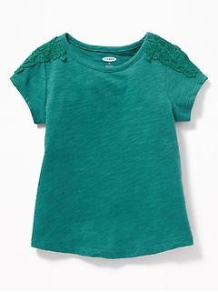 Slub-Knit Lace-Trim Tee for Toddler Girls